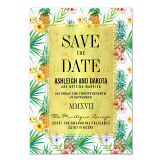 Tropical Pineapple & Hibiscus Save The Date Card