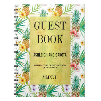 Tropical Pineapple & Hibiscus Wedding Guestbook Notebook