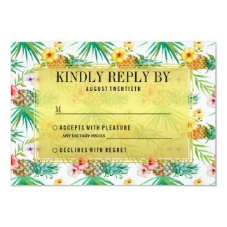 Tropical Pineapple & Hibiscus Wedding RSVP Card