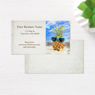 tropical pineapple in sunglasses business card