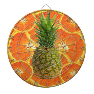 TROPICAL PINEAPPLE & JUICY ORANGE SLICES FRUIT DARTBOARD