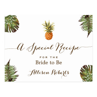 Tropical Pineapple Leaves Bridal Shower Recipe Postcard