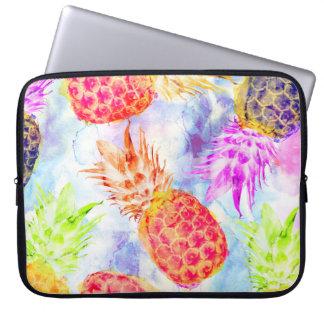 Tropical Pineapple Pattern Artsy Watercolor Laptop Sleeve