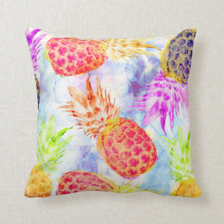 Tropical Pineapple Pattern Beautiful Watercolor Cushion