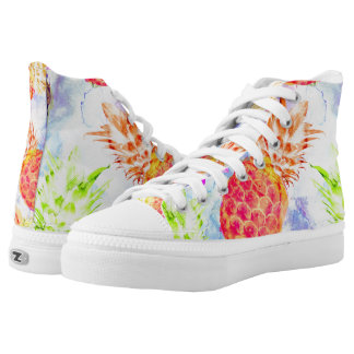 Tropical Pineapple Pattern Beautiful Watercolor High Tops