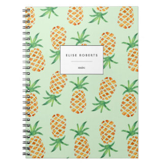 Tropical Pineapple Pattern Green Spiral Note Books