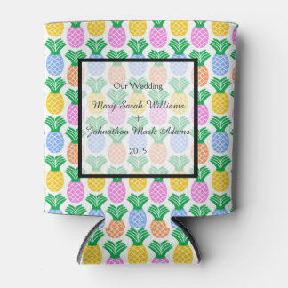 Tropical Pineapple pattern Wedding Can Cooler