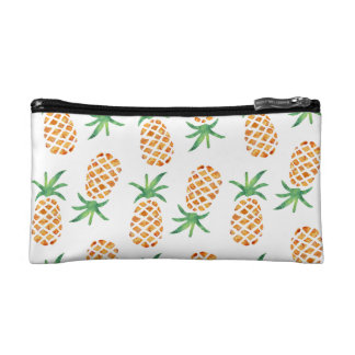 Tropical Pineapple Pattern   White Cosmetic Bag