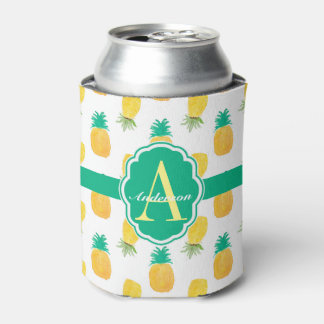 Tropical Pineapple Patterned Monogrammed Can Cooler