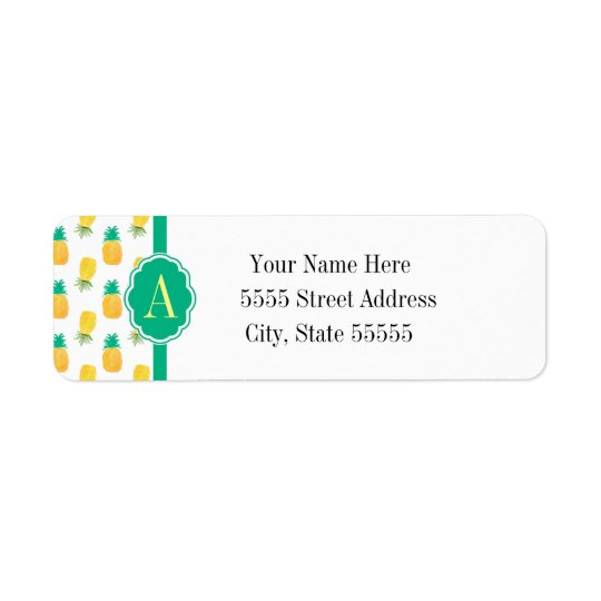 Tropical Pineapple Patterned Monogrammed Return Address Label