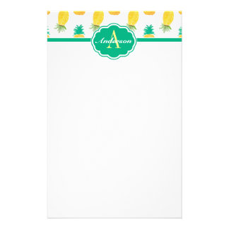 Tropical Pineapple Patterned Monogrammed Stationery