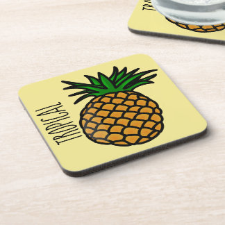 Tropical Pineapple Plastic coasters w/cork back