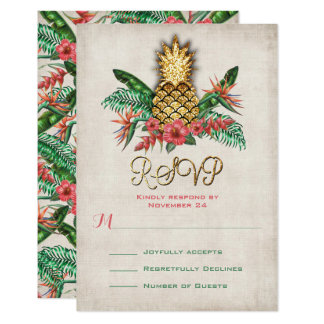 Tropical Pineapple RSVP cards
