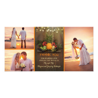 Tropical Pineapple Rustic Beach Wedding Thank You Personalised Photo Card