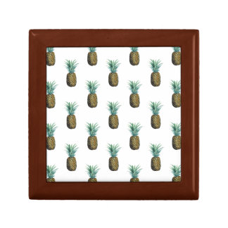 Tropical Pineapple Watercolor Small Square Gift Box