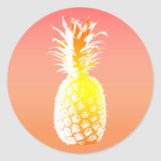 Tropical Pineapple Wedding Favor Round Sticker