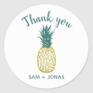 Tropical Pineapple Wedding Favor Thank You Classic Round Sticker