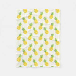 Tropical Pineapples and Stripes Fleece Blanket