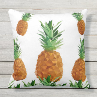 Tropical Pineapples Geometric Fruit Outdoor Cushion