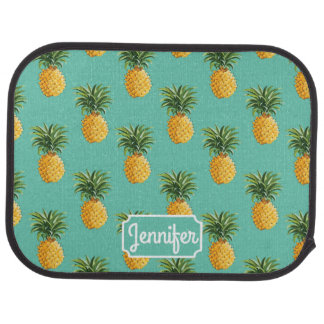 Tropical Pineapples On Teal | Add Your Name Car Mat