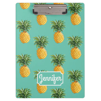 Tropical Pineapples On Teal | Add Your Name Clipboard