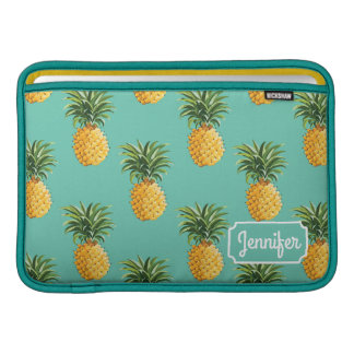 Tropical Pineapples On Teal | Add Your Name MacBook Air Sleeves