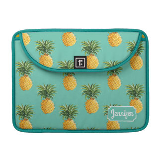 Tropical Pineapples On Teal | Add Your Name Sleeve For MacBooks
