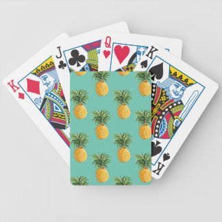 Tropical Pineapples On Teal Bicycle Playing Cards