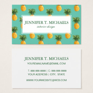 Tropical Pineapples On Teal Business Card