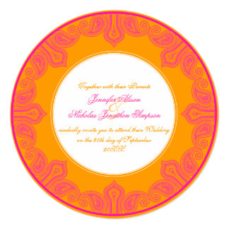 Tropical Pink and Orange Paisley Mandala Wedding Card