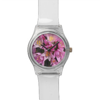Tropical Pink and Yellow Flowers Wrist Watches