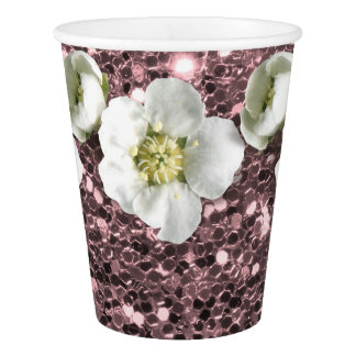 Tropical Pink Blush Glitter Flower White Jasmin Paper Cup