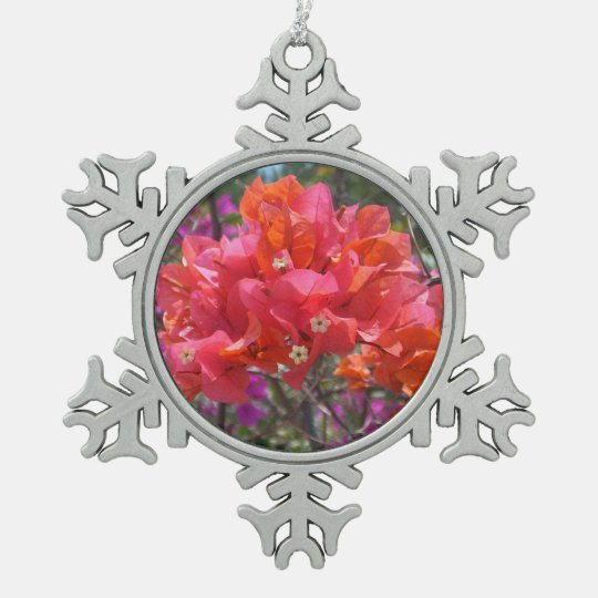 Tropical Pink Bougainvillea Pewter Snowflake Decoration
