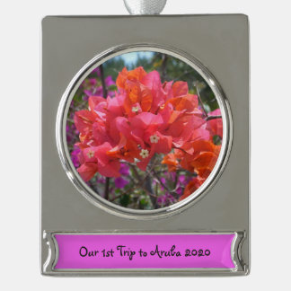 Tropical Pink Bougainvillea Silver Plated Banner Ornament