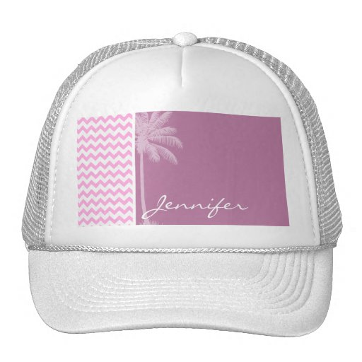 Tropical Pink Chevron Pattern Trucker Hats
