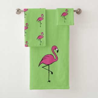 Tropical Pink Flamingo Bath Towels Set Gift