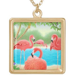 Tropical Pink Flamingo Birds Necklace