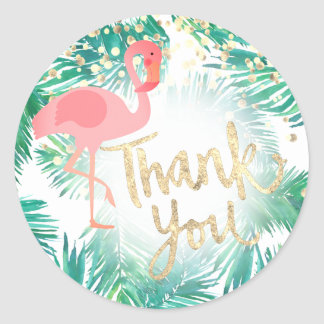tropical pink flamingo faux gold foil thank you classic round sticker