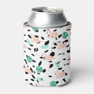 Tropical pink flamingo watercolor leaf polka dots can cooler
