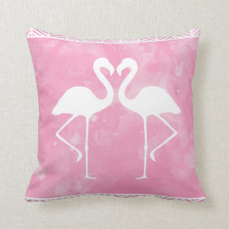 Tropical Pink Flamingo Watercolor Silhouette Throw Pillow