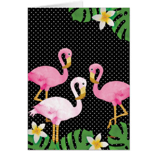 Tropical Pink Flamingos on Polka Dots Card