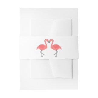 Tropical Pink Flamingos - Wedding, Summer, Luau Invitation Belly Band