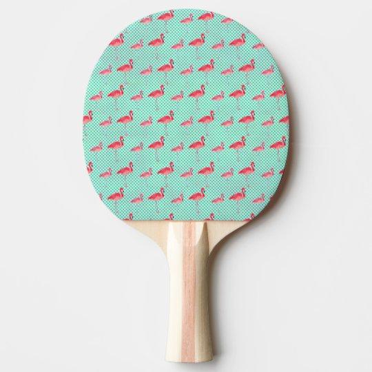 Tropical Pink Flamingos with Mint Polka Dots Ping Pong Paddle