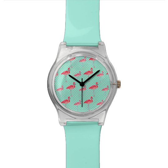 Tropical Pink Flamingos with Mint Polka Dots Watch
