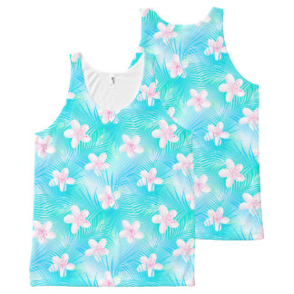 Tropical pink frangipani All-Over print singlet