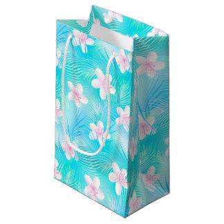 Tropical pink frangipani small gift bag