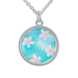 Tropical pink frangipani sterling silver necklace