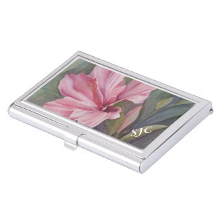 TROPICAL PINK HIBISCUS BUSINESS CARD HOLDER