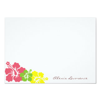 Tropical pink hibiscus flowers custom stationery card