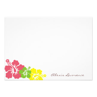 Tropical pink hibiscus flowers custom stationery custom invitations